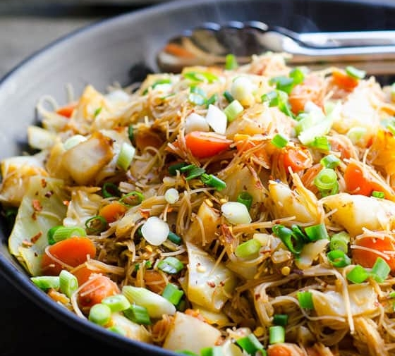 Cabbage and Carrots Stir Fry with Rice Noodles