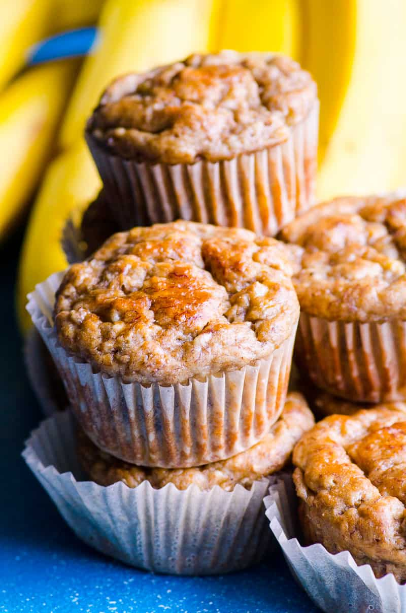 A Stack of Healthy Banana Muffins