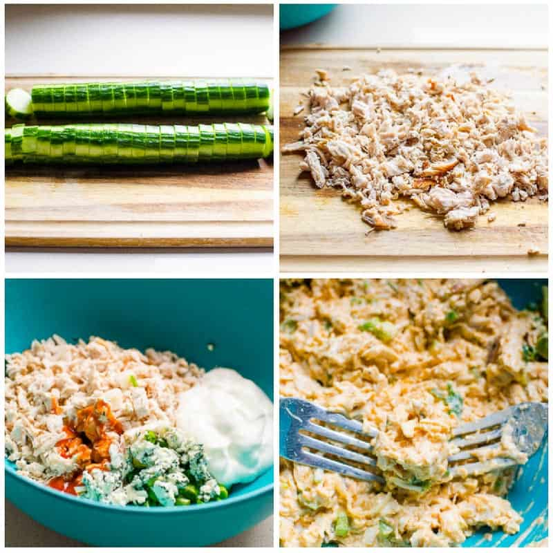 how to make Cucumber Appetizers process with sliced cucumber and chopped chicken salad