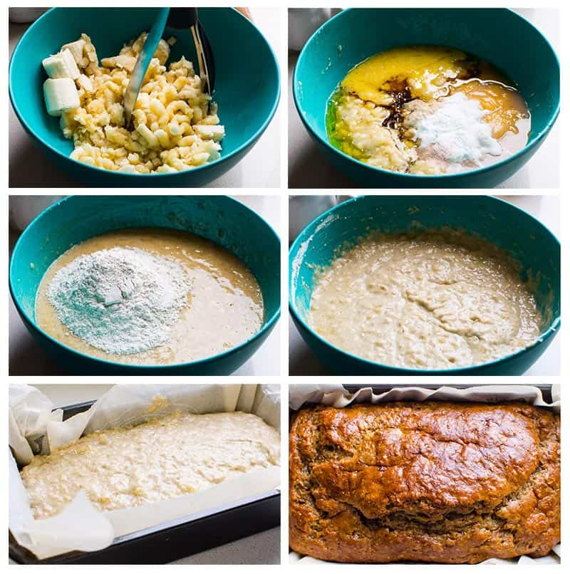 how to make easy healthy banana bread step by step