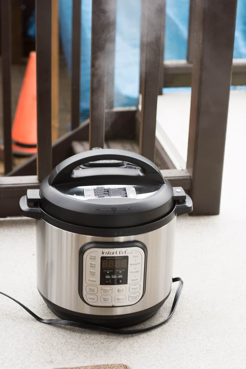 Easy Instant Pot Beef Stew venting outside
