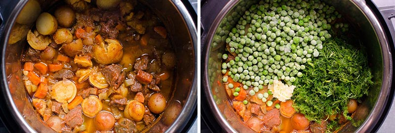 frozen peas, dill and garlic added to pressure cooker beef stew