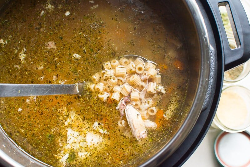 Flavourful and super easy Instant Pot Chicken Noodle Soup Recipe with whole chicken and your choice of noodles that need no pre-cooking and come out just perfect.