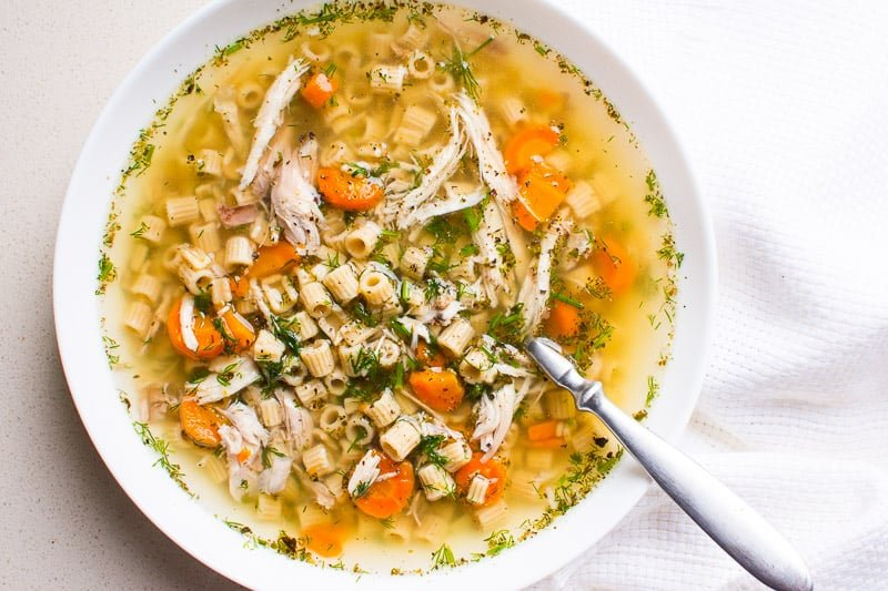 Instant Pot Chicken Noodle Soup frozen chicken