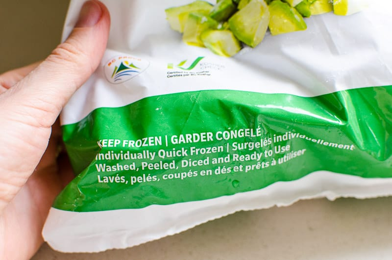 label on frozen avocado bag
