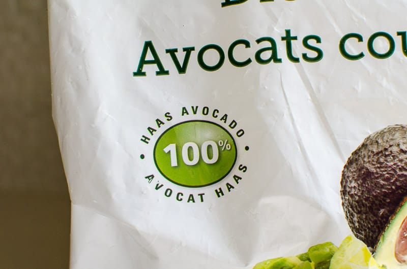 100% HAAS avocado label on frozen avocado bag