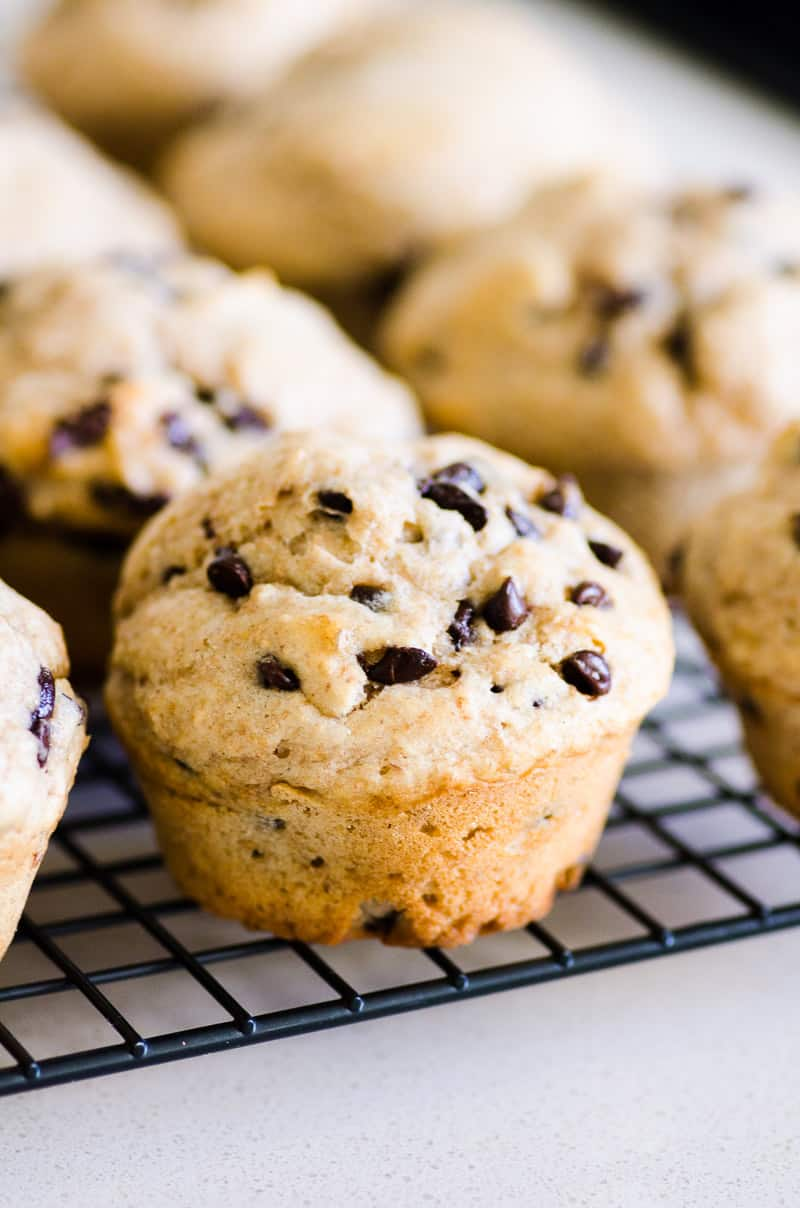 Bakery style Healthy Chocolate Chip Muffins with whole wheat flour, Greek yogurt, maple syrup and mini chocolate chips. Make double batch because these will disappear in seconds.