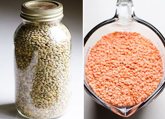 a jar with green and red lentils to use in lentil curry recipe