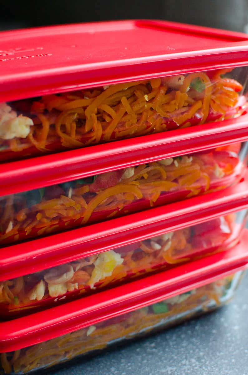 stacked containers of Pad Thai Sweet Potato