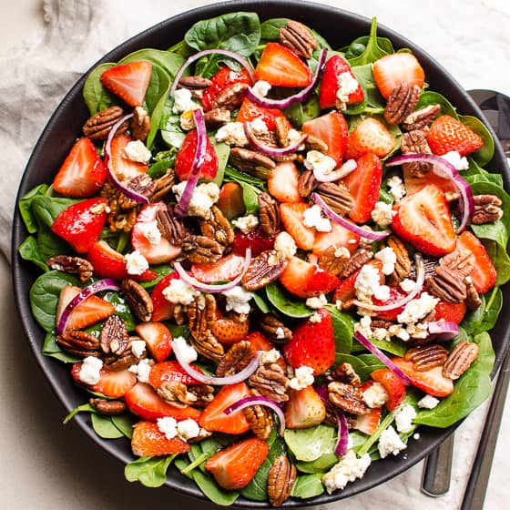 Strawberry Spinach Salad With 4 Ingredient Dressing Ifoodreal Com