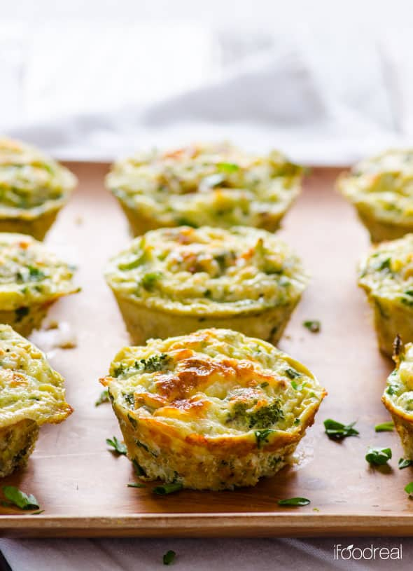 Breakfast Egg Muffins with broccoli and cheese on a platter