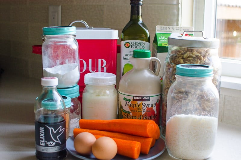Healthy Carrot Cake ingredients