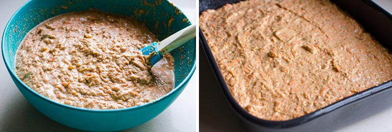 mixing batter for Healthy Carrot Cake and batter spread out in cake pan