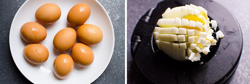 hard boiled eggs on a plate and sliced for egg salad recipe