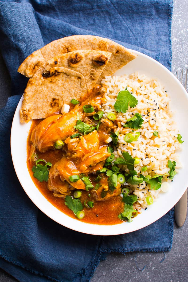 This Instant Pot Butter Chicken Recipe with coconut milk makes healthy restaurant quality meal at home, in your electric pressure cooker, in 30 minutes from start to finish.