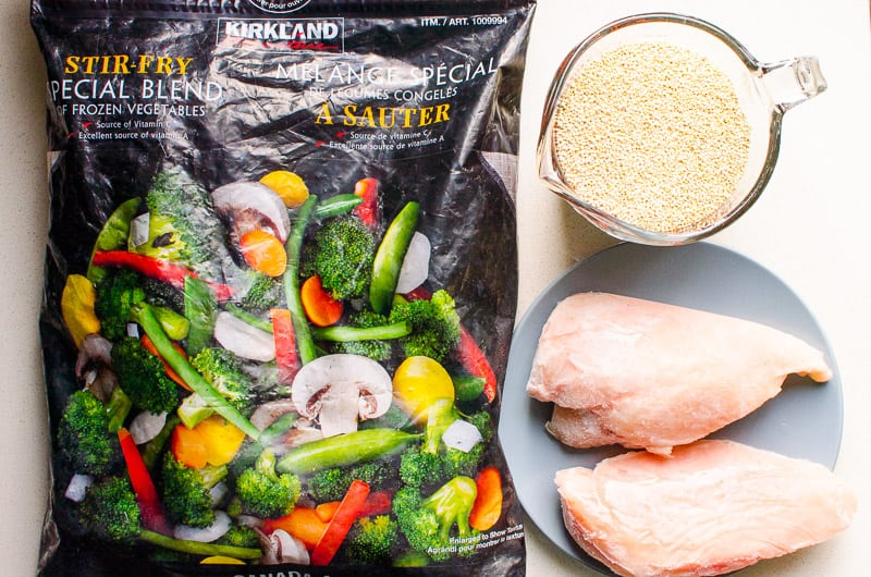 stir fry vegetables blend, chicken breasts and quinoa