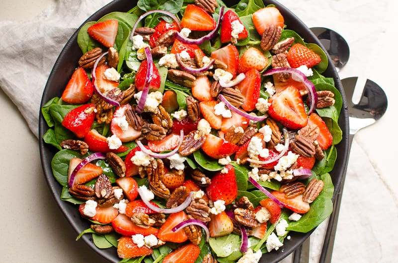 Strawberry Spinach Salad on plate