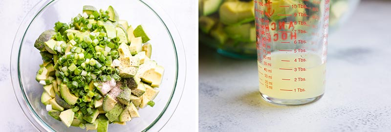 avocado, green onion, salt and pepper in a bowl and lime juice in glass