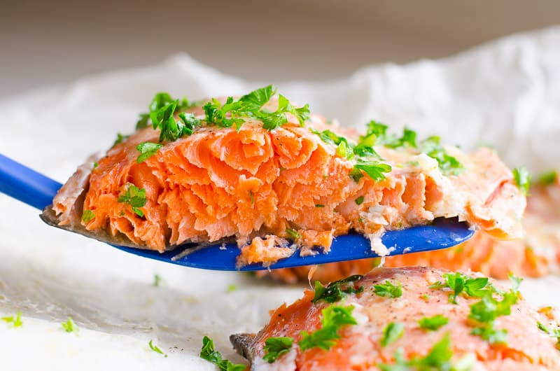 baked salmon garnished with parsley is quick healthy dinner idea