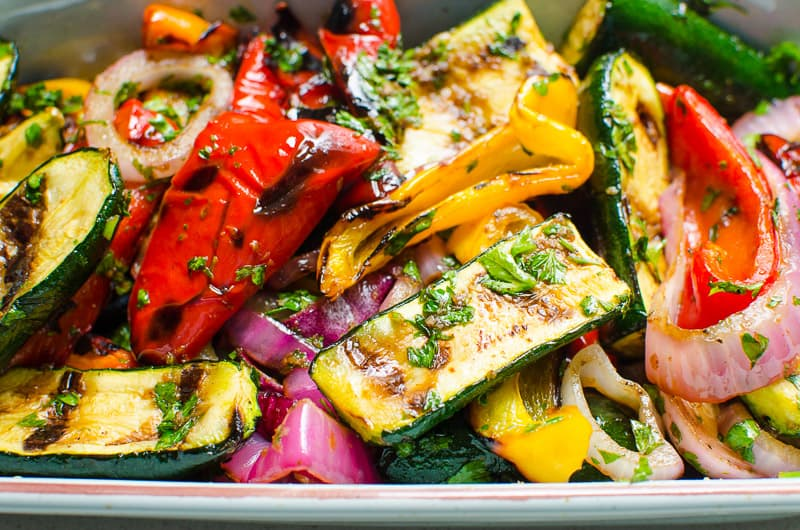 grilled vegetables pepper zucchini and onion