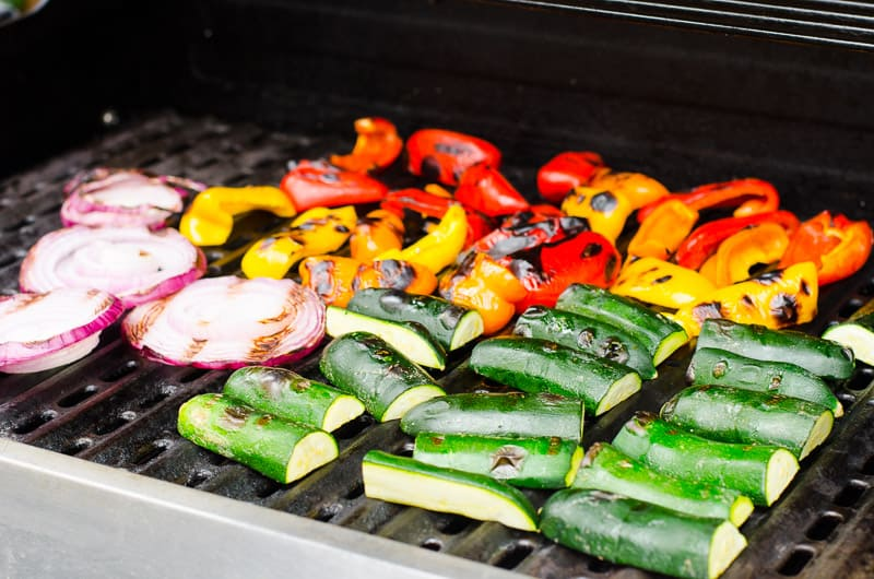 Grilled Vegetables Recipe with any firm mixed vegetables and super delicious balsamic dressing. Serve warm or cold, no marinade required, how to make healthy grilled vegetables video included. A sure crowd pleaser!