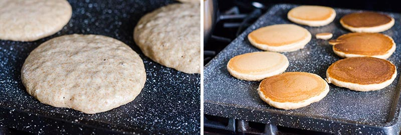 healthy homemade pancakes cooking on a griddle