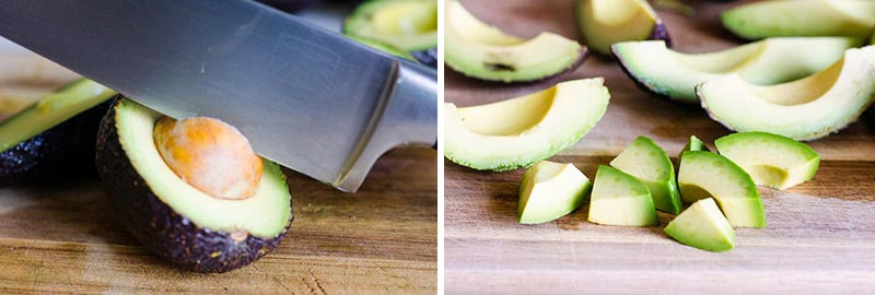 removing pit from avocado and sliced avocado