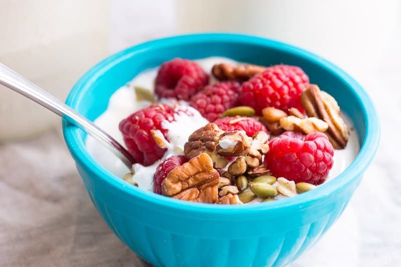 instant pot yogurt in bowl with granola and berries