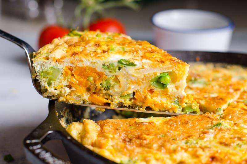 vegetable frittata slice