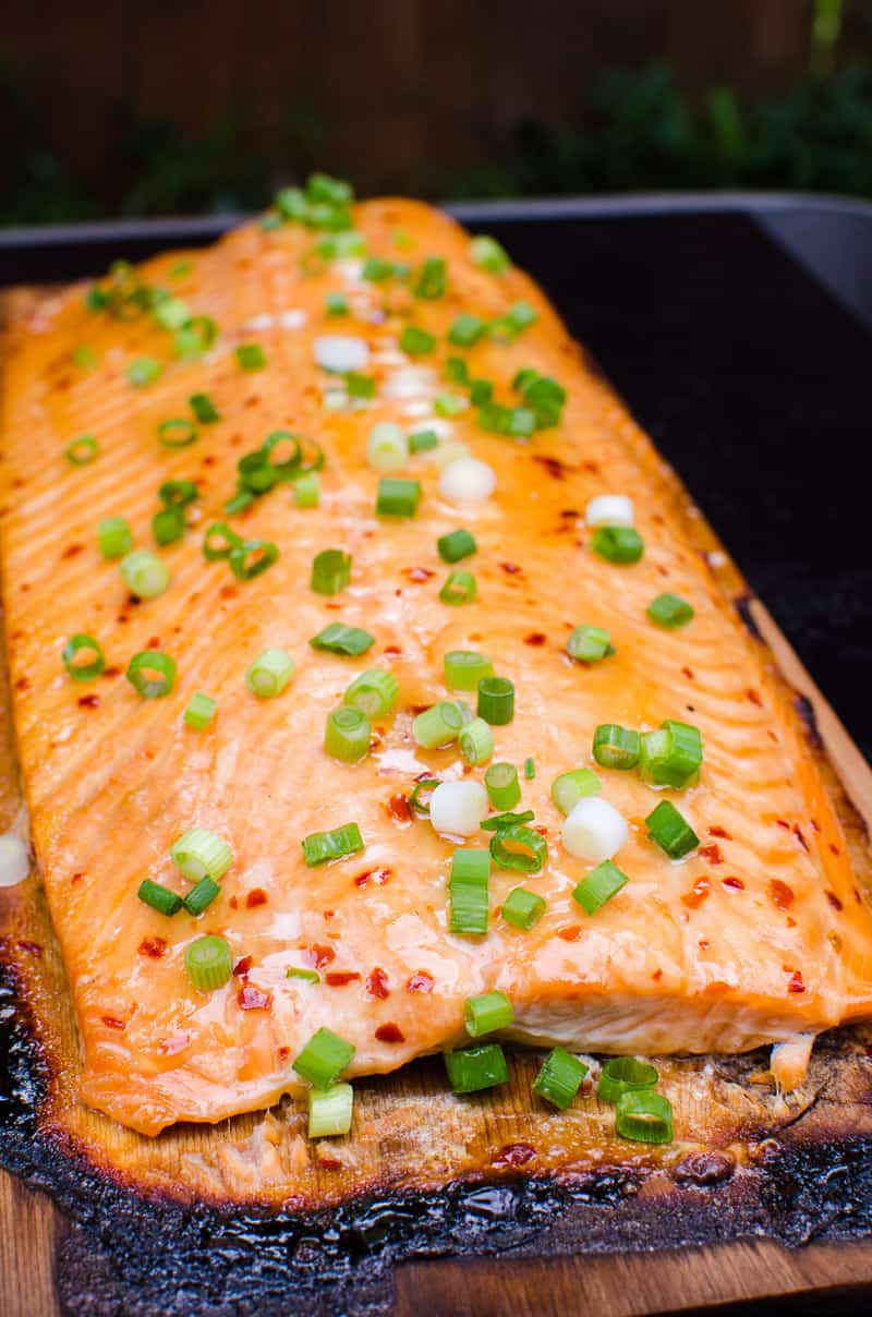 Best BBQ Cedar Plank Salmon Recipe or how to grill salmon on a cedar plank glazed with easy healthy maple Thai sauce that will blow everyone's mind. Yup, we are THAT confident!