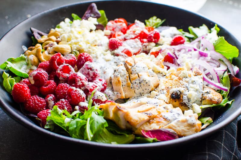 grilled chicken salad in a bowl