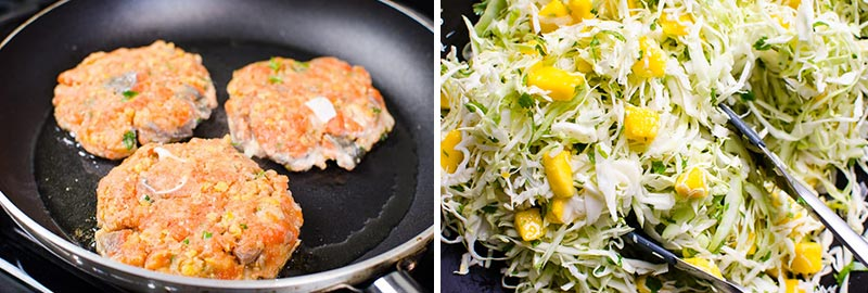 salmon burgers and slaw