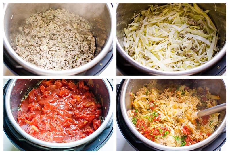 how to make Instant Pot Cabbage Rolls step by step