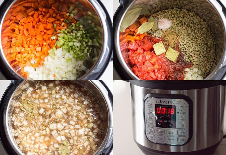 How to make Instant Pot lentil soup recipe step by step