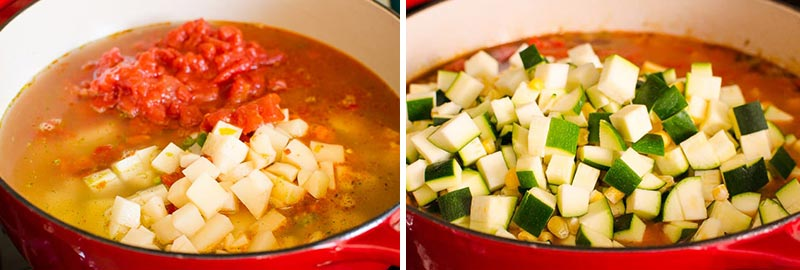 easy vegetable soup in a pot