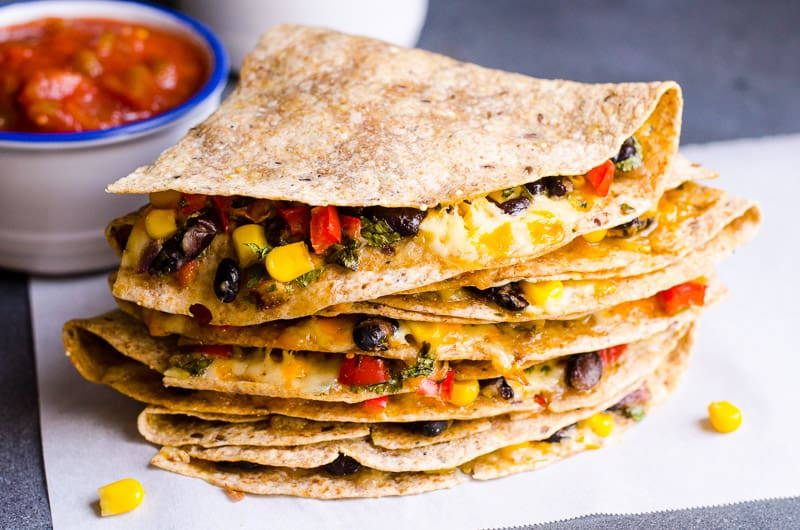Vegetarian Quesadillasliced and stacked