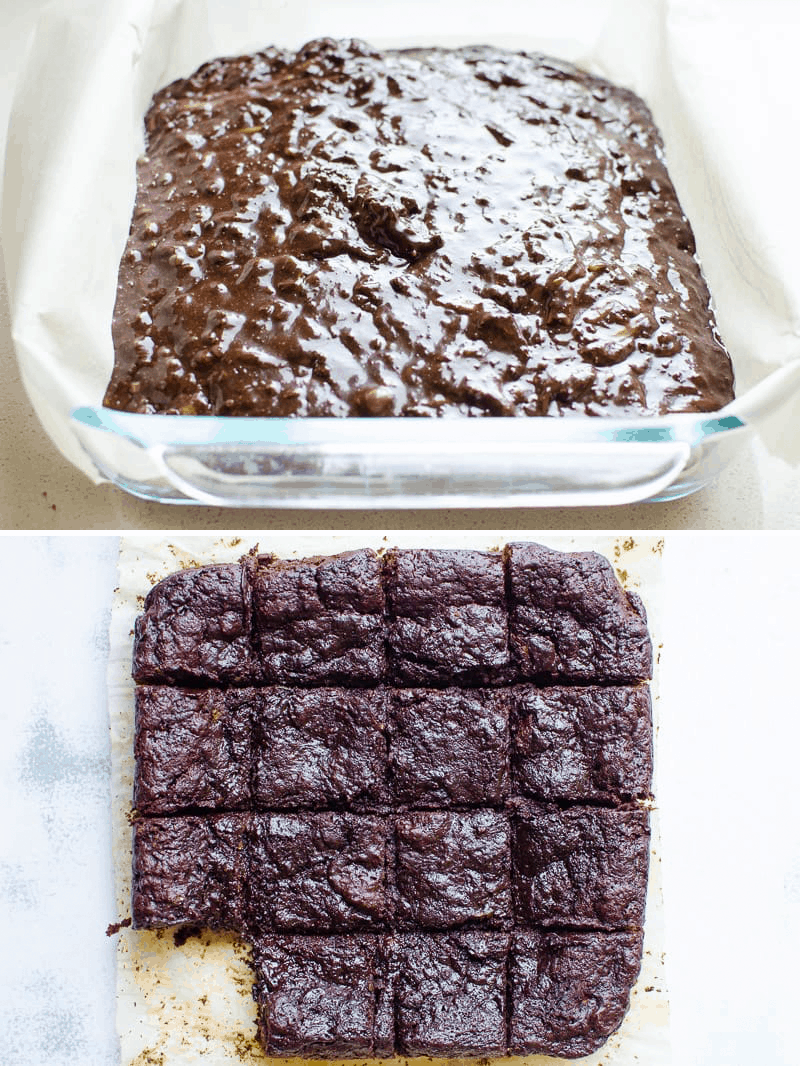 chocolate zucchini brownies batter in a baking dish and sliced after baking