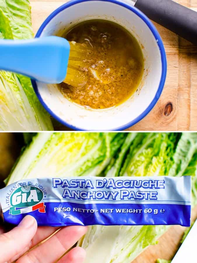 marinade with anchovy paste and garlic for romaine lettuce