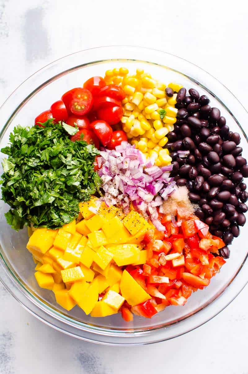 black bean salad ingredients in a bowl