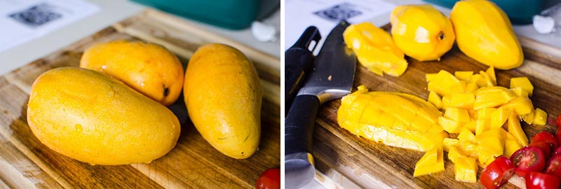 how to chop mango for salad
