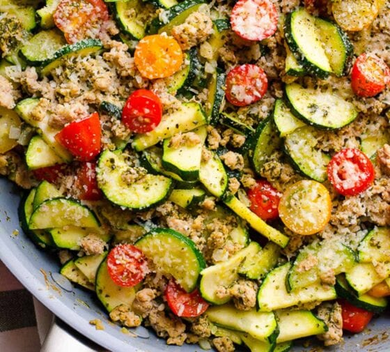 Low Carb Ground Turkey Zucchini Skillet with Pesto