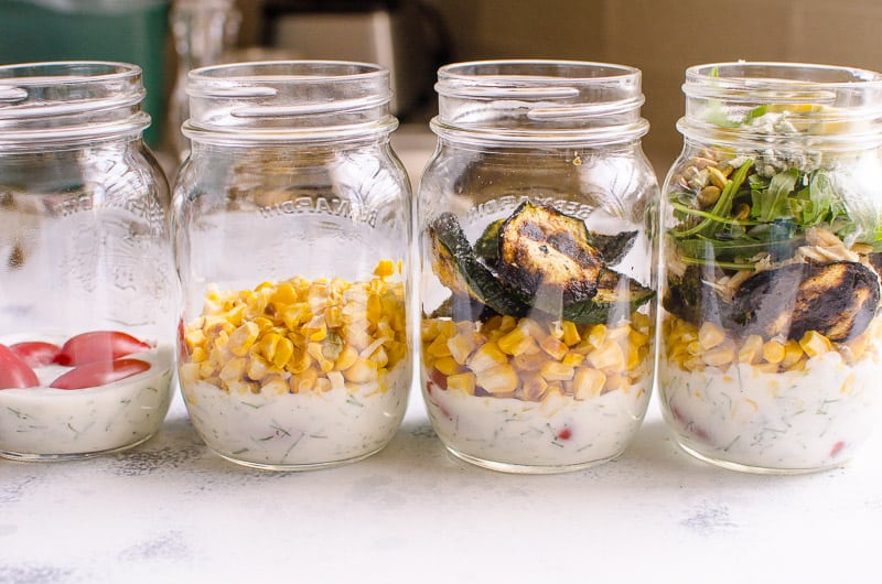 Healthy Cobb Salad in glass jars