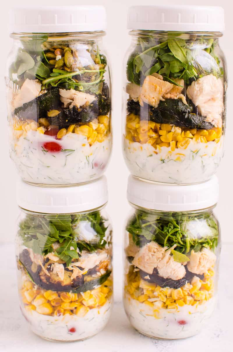 Healthy Cobb Salad Recipe with all the goodness of bacon, eggs and blue cheese but with extra nutrition and healthy easy dressing. We also show you hot to make it meal prep (salad in a jar) style.