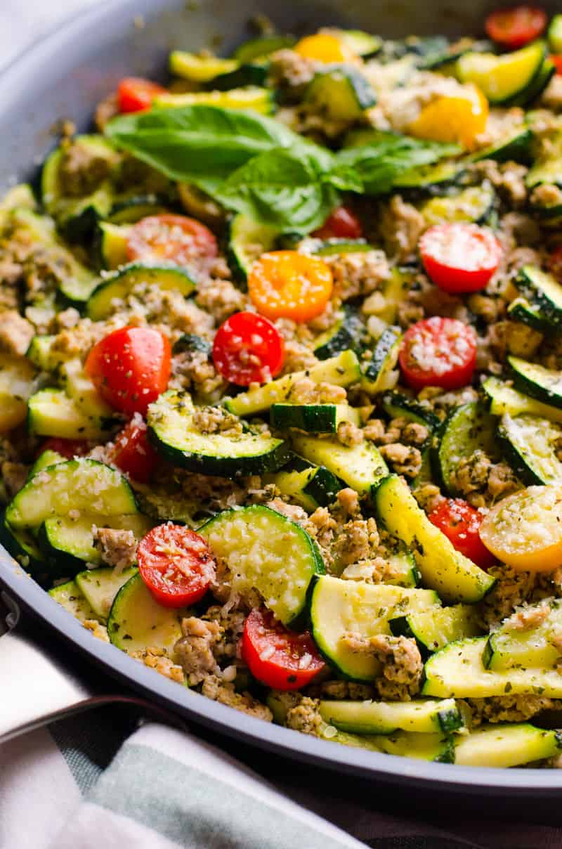 Low Carb Ground Turkey Zucchini Skillet with Pesto - iFOODreal