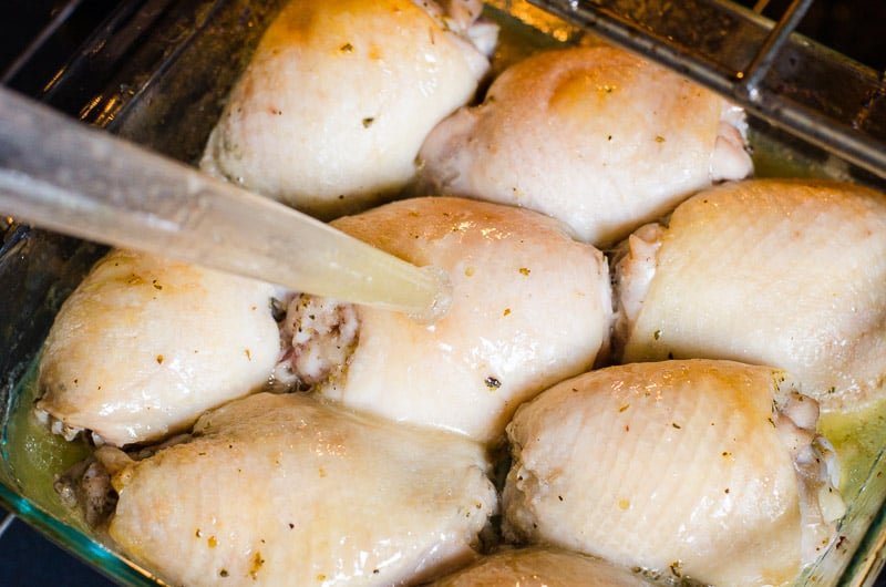 Easy, juicy and basic Baked Chicken Thighs Recipe will become your weeknight dinner go-to. How long to bake chicken thighs in the oven mystery solved.