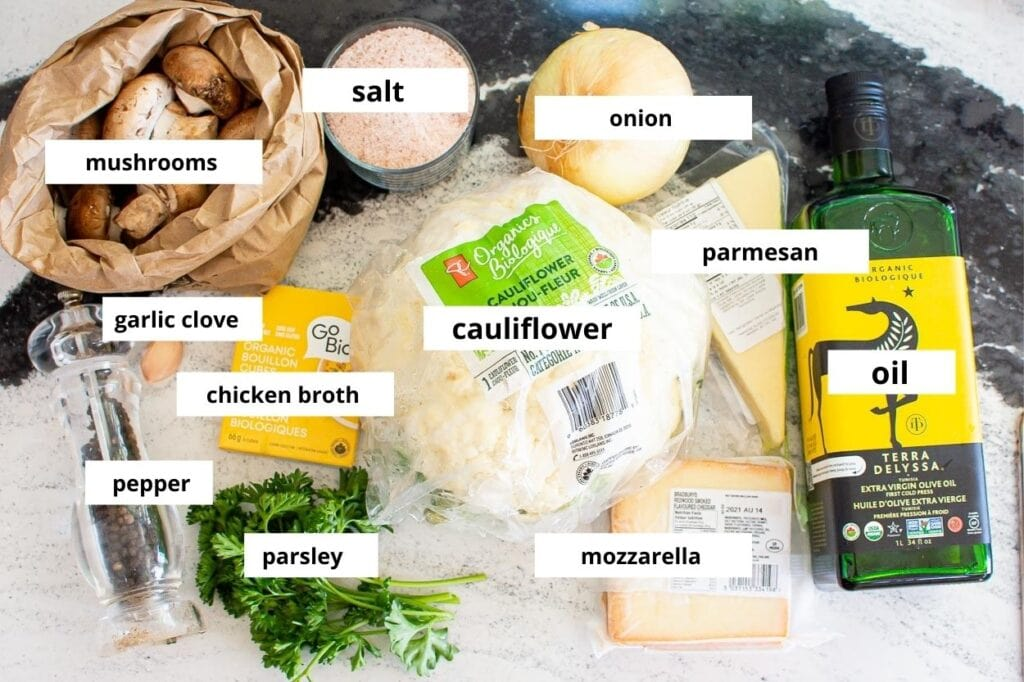 cauliflower rice risotto with mushrooms ingredients