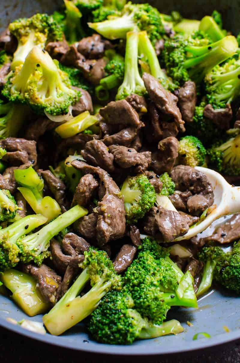 Healthy beef and broccoli in a skillet