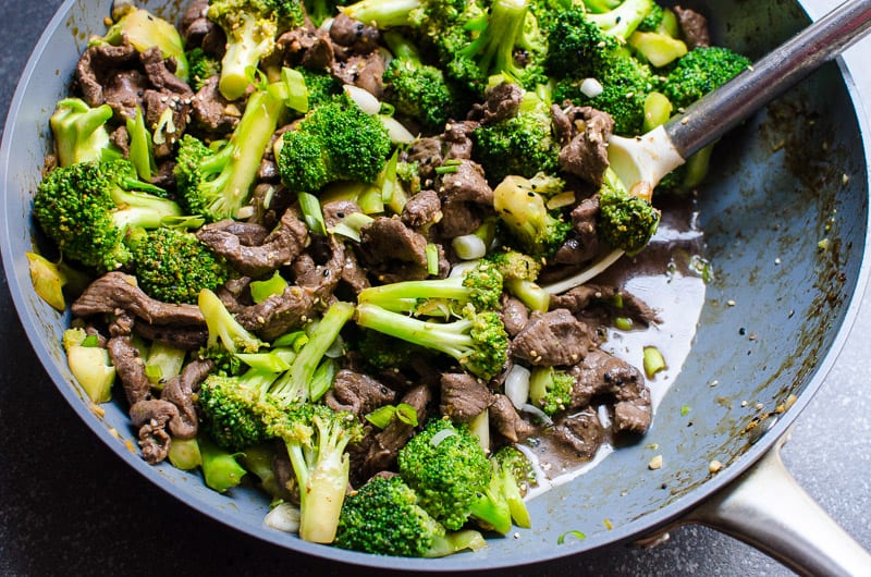 healthy beef and broccoli stir fry in skillet