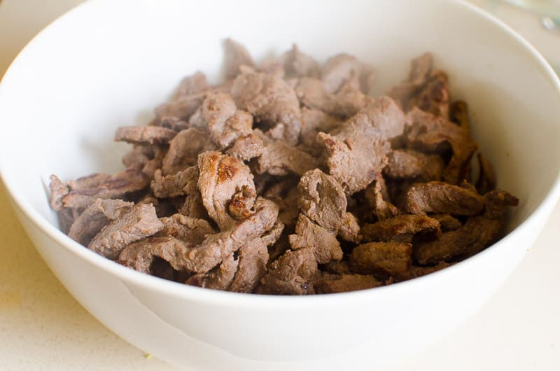 Cooked beef in a bowl