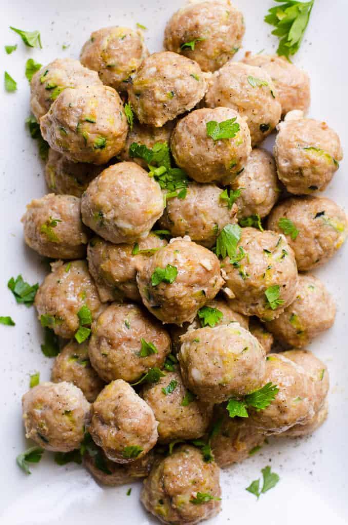 turkey meatballs on plate with garnish